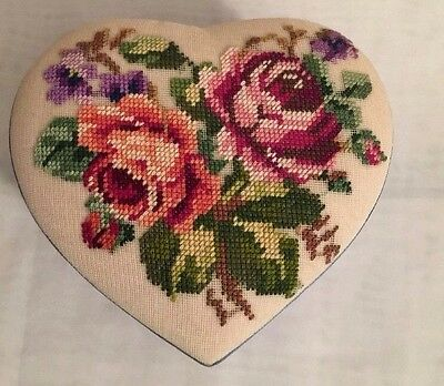 FETCO Hand Stitched needle Work Floral Heart Shaped Satin Trinket Box