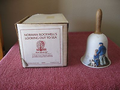 """Vintage Norman  Rockwell Porcelain Bell """"looking Out To Sea""""  W / Orig Box"""
