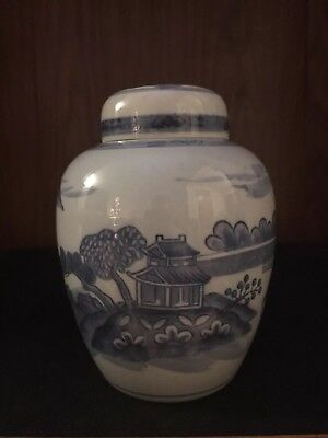 Vintage Chinoiserie Blue And White Multiple Landscapes Ginger Jar