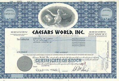 Caesars World, Inc. vom 28.6.1979 über 100 Shares -Weltbekanntes Casino in Vegas