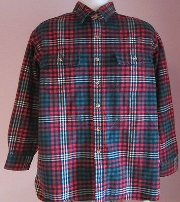 VTG Mens IVY CREW Red/White/Green Checked Thick Flannel Shirt Size Large