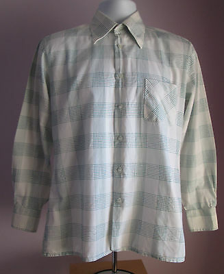 VTG 70s Mens CLASSIC Green/White Check Collared Long Sleeve Shirt Size Medium