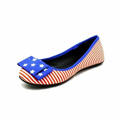 American Flag Blue / Red striped flat shoes / pumps