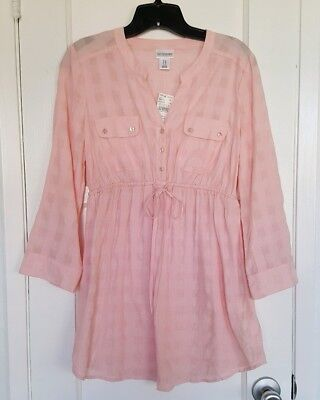 NWT Motherhood Maternity Tunic Shirt With Tie Front Pink/Peach Size M