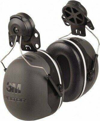 3M Hard Hat Cap Mounted, 31 NRR, Black Earmuffs Behind the Neck, Over the Hea...