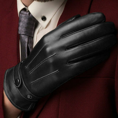Leather Gloves Full Finger Mens Motorcycle Driving Winter Warm Touch Screen KF