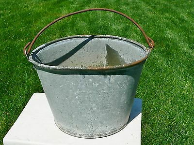 "8"" Vintage Shabby Rustic Galvanized Metal Pail Bucket Garden Planter  Fall MUMS"