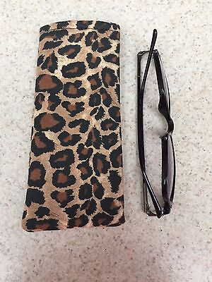 Readers / Small Sunglass Soft Fabric Case - Cheetah Print in Neutral Colors