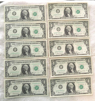 (10 notes) 1963B Barr and 1963A Fowler (5 consecutive C.U. each)- free ship
