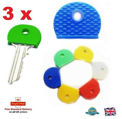 3 x Rubber Key Caps Coloured Covers Plastic Top Cap Cover Tag Door Identifier UK