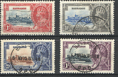 1935 Barbados Gv Silver Jubilee Set F/vf Used