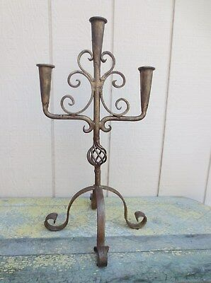 Antique Wrought Iron Hand Forged Candelabra 3 Candles 22  Tall Gothic Impressive