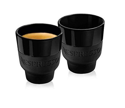 Nespresso 2 Touch Espresso Cups In Black Porcelain & Soft-Touch Silicone