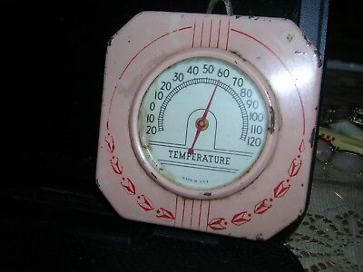 Rare Shabby Pink Farmhouse Vintage Industrial Metal Deco Wall Thermometer 1930s