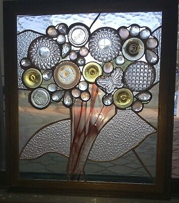 Tree of Life! Butterfly Roundels ~ STAINED GLASS Framed Window ~ One of a Kind