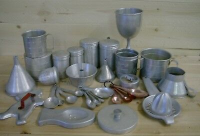 Aluminum Measuring Spoons Cups Set Wine Glass Shakers Cookie Juicer HUGE LOT