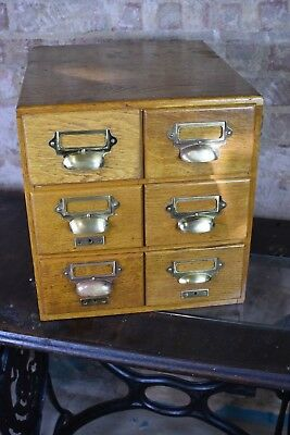 Antique Oak 20th Century 6 drawer Index Card Filing Drawers Home Office Storage