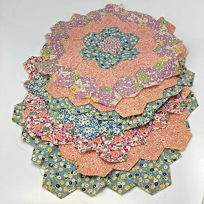 Lot of 7 Antique Hand Sewn Quilt Blocks Hexagon Pattern Floral About 11.5""