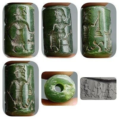 Jade Old Medieval Seal intaglio King & Guards Antique stone Bead    # E