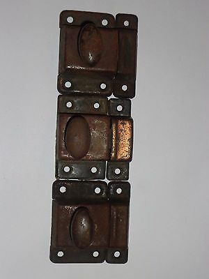 3 Antique Cabinet/ Cupboard Latches old  dark patina  oval knobs