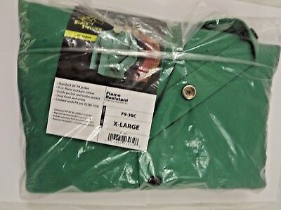 "Black Stallion F9-30C 30"" Cotton FR Green Welding Jacket X Large"