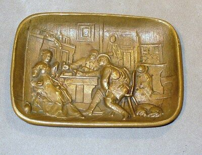 Vtg Solid Cast Brass Tip Tray-Nicely Detailed Scene-English Pub or Bar