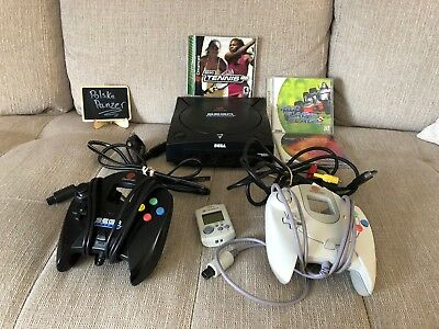 Sega Dreamcast Launch Edition Black Console + 2 Games, 2 Controllers, VMU TESTED