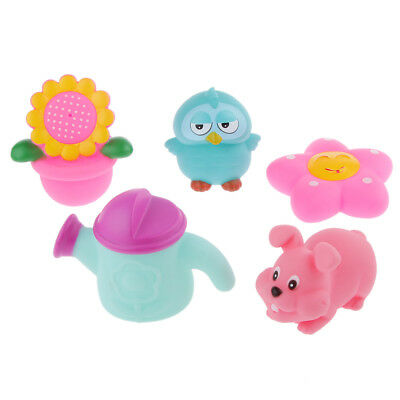 5pcs Squeaky Floating Bath Toy Baby Kids Bathing Time Fun Toy Gift