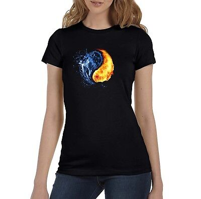 Abstract Water and Fire Women's Black T-Shirt (S-XL)