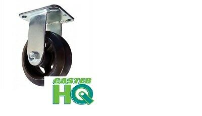 "CASTERHQ-6"" x 2"" Rubber On Iron Wheel Medium Duty Caster - 550 Lbs Capacity"