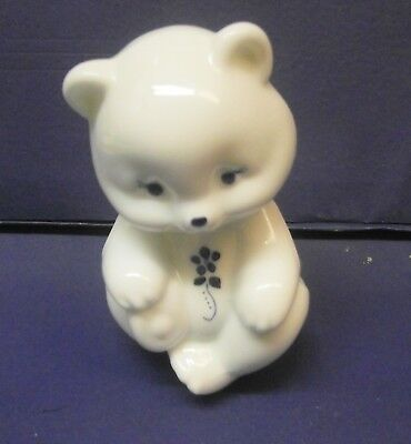 Fenton Glass Bear White With Blue Leaf & Vine Design Hand Painted Signed