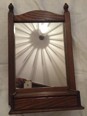 Oak Antique wooden table/hanging mirror & Key Box
