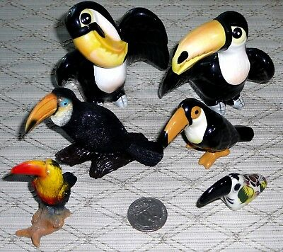 LOT of 6 Various Vintage Miniature TOUCAN Figurines Salt Pepper Shakers Ceramic