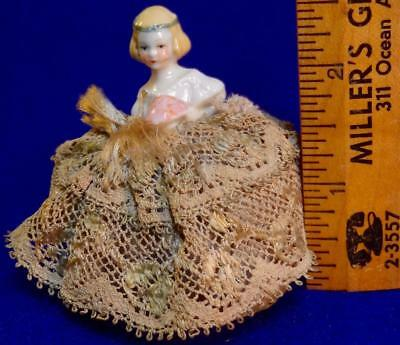 """Antique Victorian Tiny 2 1/2"""" Germany? Half Doll Pin Cushion w/ Kid Leather Base"""