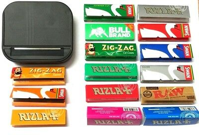 AUTOMATIC ROLLING MACHINE CIGARETTE BLACK TIN and RIZLA SWAN ZIG ZAG RAW PAPERS