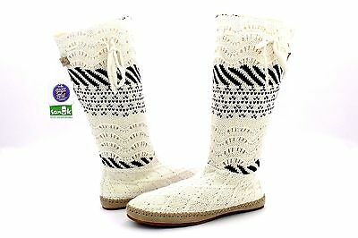 Sanuk Snuggle Up Lx Slouch Boot Natural Sweater Sidewalk Surfer Boots Size 6 Us