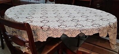"IVORY CROCHETED TABLECLOTH Vintage HANDMADE 60"" by 74"" Heavy Thread  LOVELY!"