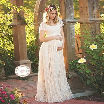 Pregnant Women Lace Maxi Long Dress Ladies Maternity Gown Photography Shoot Prop
