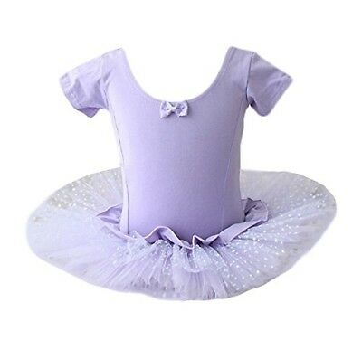 Girls Ballet Tutu Dress Leotard Purple Dance Outfit Tulle Skirted Birthday 5/6