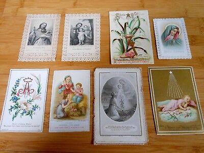 Lot of 8 French Antique Catholic Holy Cards 1800's to Early 1900's