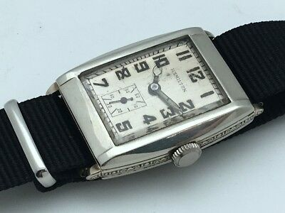 Vintage 1930's Rectangular 17J Sub Second Dial Art Deco 987F STAINLESS STEEL
