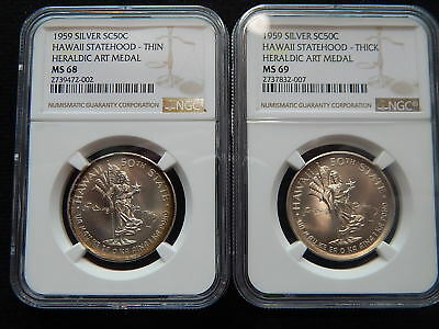 1959 Hawaii Statehood Silver Medals - NGC MS68 Thin & MS69 Thick Variety
