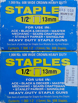2,000 Arrow Staples #608 Ace-Swingline-Sears Craftsman-Stanley-2 Boxes-Free Ship