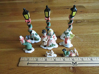 8 Fitz Floyd Vintage Figurines - Street Lamps, Boy Sled Plus More