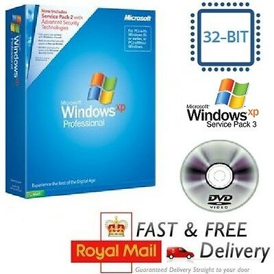Windows XP Professional SP3 with COA License / Product Key + CD System 32-bit