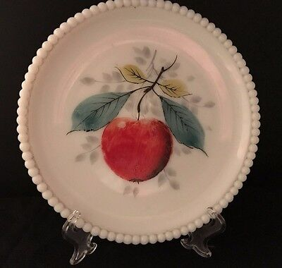 Decorative Plate. Hand Painted Apple and Leaves on Milk Glass