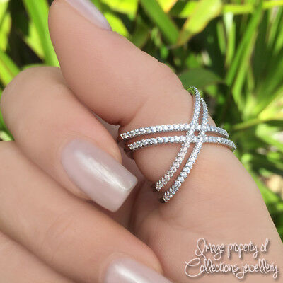 CRISS CROSS RING X Double 925 Solid Sterling Silver Sparkling Stones Many Sizes