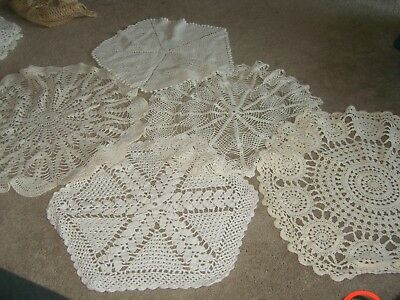 Lot of 5 large Vintage Hand Crocheted Doilies ~ Varied Patterns