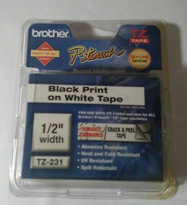 Brother P-Touch TZe-231 BLACK ON WHITE Label Tape TZe231 / Ptouch TZ231 PT-1880