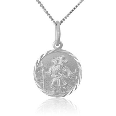 Sterling Silver 925 St Christopher Medallion Pendant with Free Chain